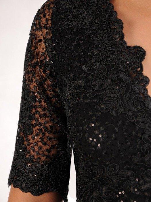 Prosta sukienka z kopertowym dekoltem, kreacja z koronkowym topem 22537