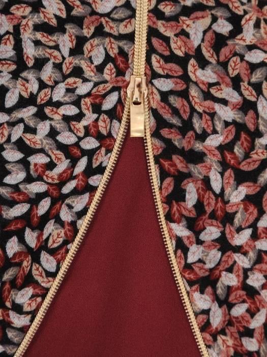 Prosta sukienka z ozdobnym złotym zamkiem, modna kreacja wyszczuplająca  27288