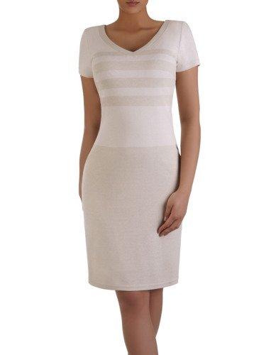 Prosta sukienka z subtelnym wzorem 16150, nowoczesna kreacja wizytowa.