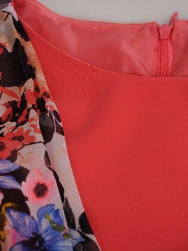 Prosta sukienka z szyfonową narzutką maskującą brzuch 16596.