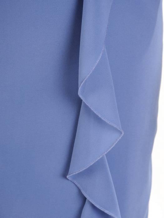 Prosta sukienka z szyfonu, kreacja z ozdobną falbaną 30035