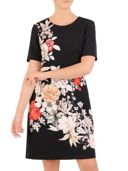 Prosta sukienka z tkaniny, kreacja w kwiaty 30049