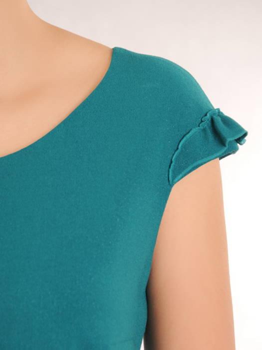 Prosta sukienka z tkaniny z ozdobnymi falbankami 31060
