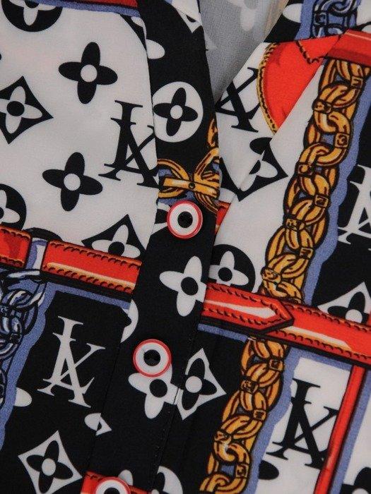 Prosta tunika w oryginalny, kontrastowym wzorze 24450
