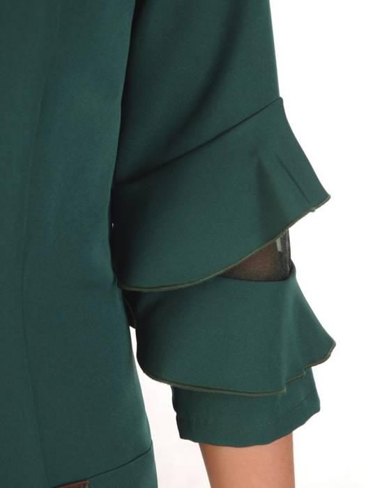 Prosta zielona sukienka z falbankami na rękawach 28322