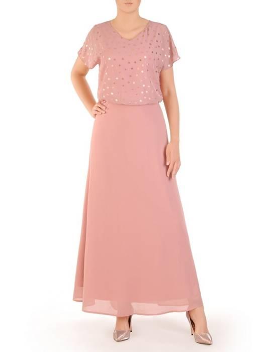 Pudrowa sukienka w połyskujące złote groszki 30122