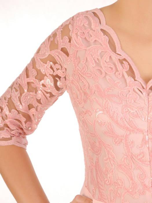 Pudrowa suknia maxi, wieczorowa kreacja zdobiona cekinami 30591