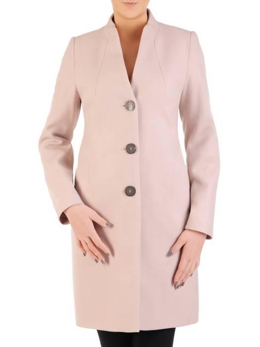 Pudrowy płaszcz ze stójką 28772