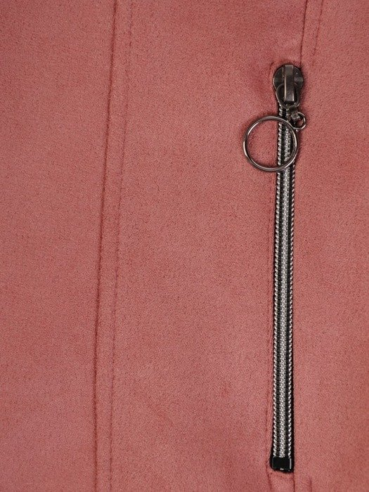 Pudrowy żakiet z modnymi suwakami 25744