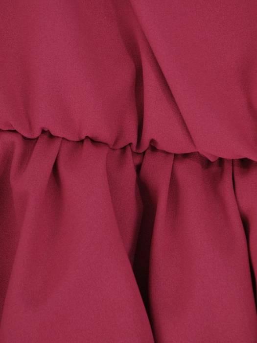 Rozkloszowana amarantowa sukienka, kreacja z kopertowym dekoltem 27836