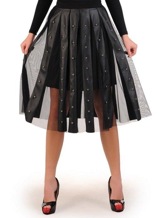 Rozkloszowana spódnica z łączonych materiałów 23793