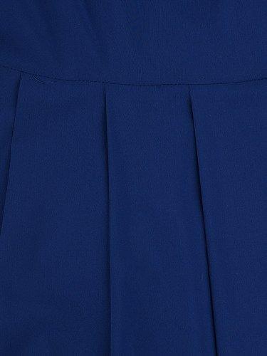 Rozkloszowana sukienka Izaura II, kreacja w kolorze chabrowym.