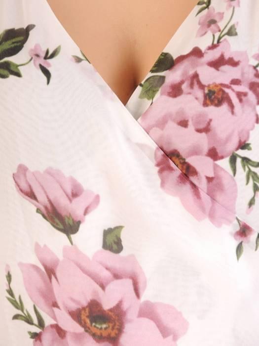 Rozkloszowana sukienka maxi, kopertowa kreacja z szyfonu 29994