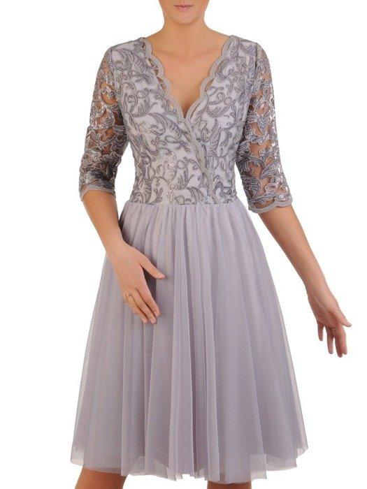 Rozkloszowana sukienka na wesele, kreacja z koronki i tiulu 22996