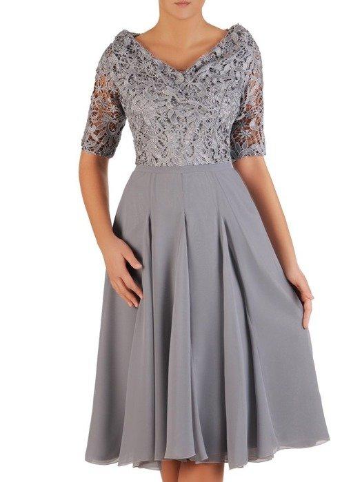Rozkloszowana sukienka na wesele, zwiewna kreacja z koronki i szyfonu 23272