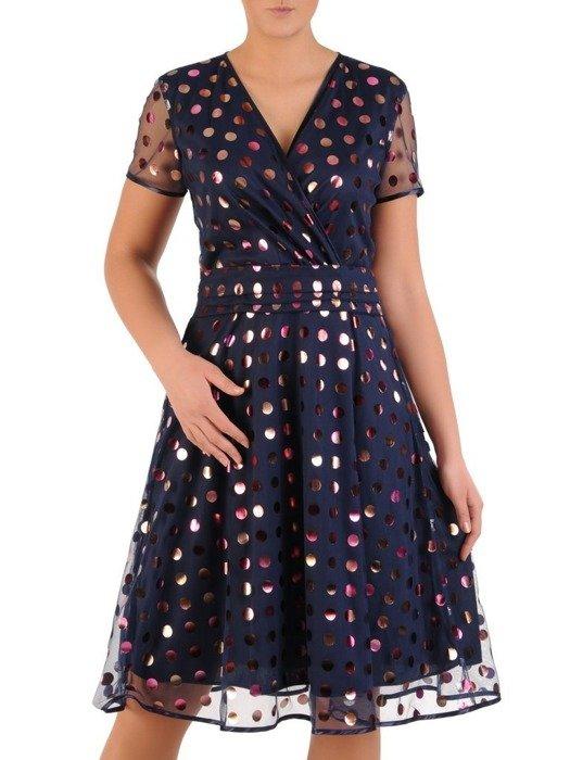 Rozkloszowana sukienka w groszki, kopertowa kreacja z tiulu 24438