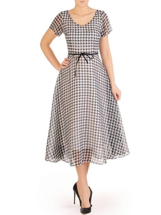 Rozkloszowana sukienka w pepitkę, kreacja z paskiem 29292