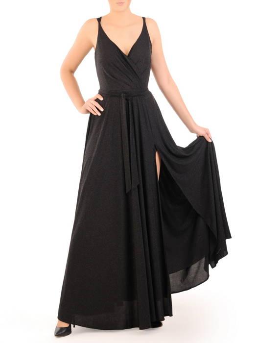 Rozkloszowana sukienka wieczorowa, brokatowa kreacja z paskiem 30745