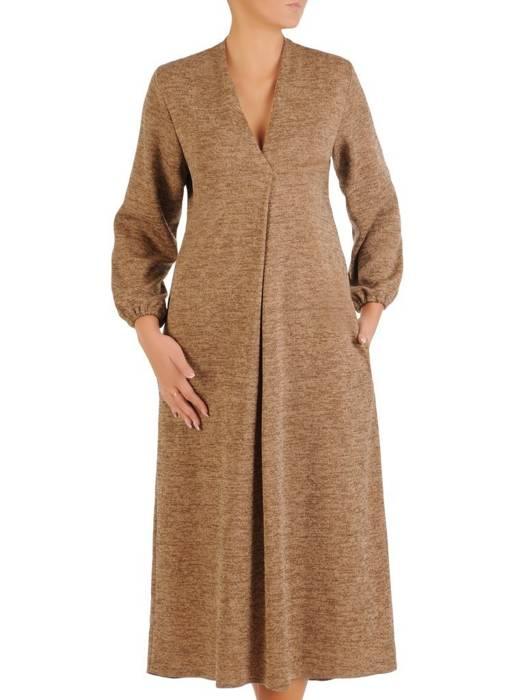 Rozkloszowana sukienka z dzianiny, kreacja z paskiem 27205