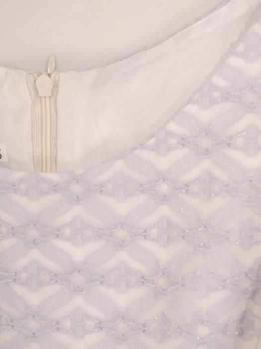 Rozkloszowana sukienka z kokardą, kreacja z koronkowym topem 30143