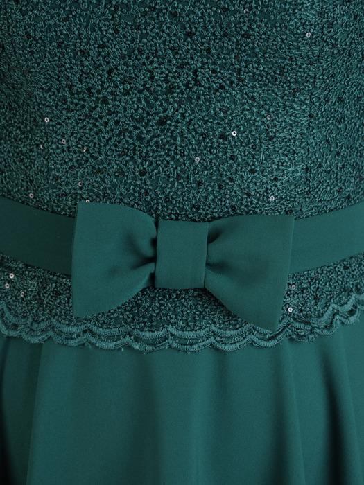 Rozkloszowana sukienka z kokardą w talii, elegancka kreacja wyjściowa 20562