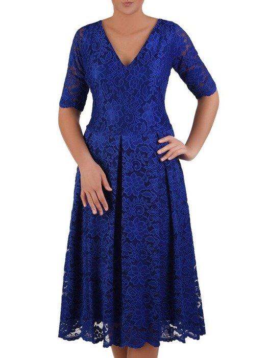 Rozkloszowana sukienka z koronki, modna kreacja z kontrafałdą 22630