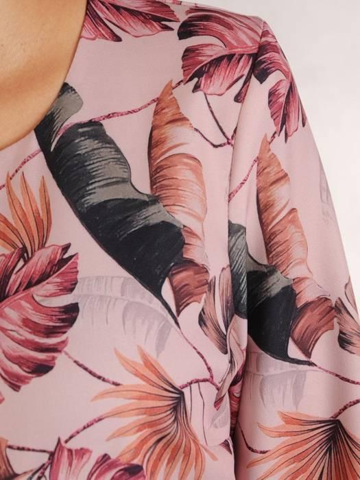 Rozkloszowana sukienka z paskiem, kreacja w liście 27375