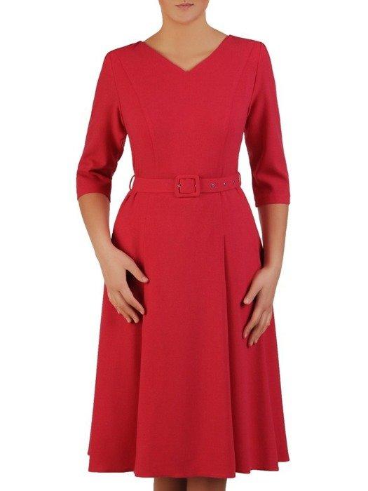 Rozkloszowana sukienka z paskiem, kreacja z delikatnym połyskiem 24004