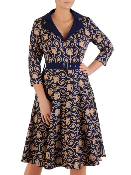 Rozkloszowana sukienka z paskiem, modna kreacja z kołnierzem 21959