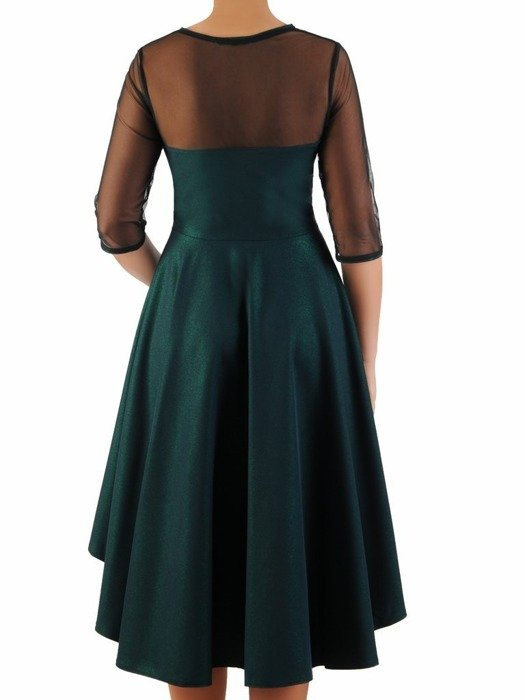 Rozkloszowana sukienka z połyskiem, kreacja z tiulowym karczkiem 23110