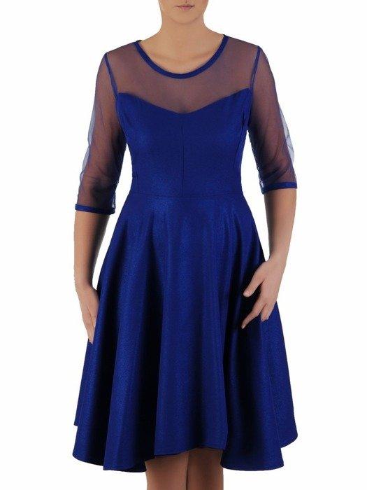 Rozkloszowana sukienka z połyskiem, kreacja z tiulowym karczkiem 23111