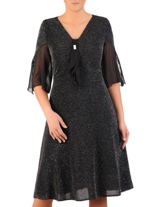 Rozkloszowana sukienka z połyskującej dzianiny 24045