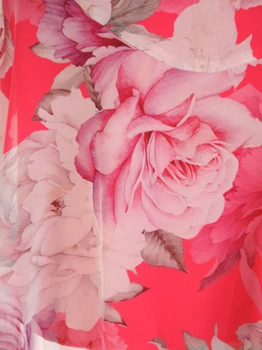 Rozkloszowana sukienka z szyfonu, kreacja w kwiaty 30549