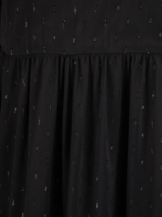Rozkloszowana sukienka z szyfonu, kreacja z gumkami na rękawach 27880