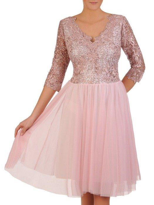 Rozkloszowana sukienka z tiulu i gipiury, różowa kreacja na wesele 22999