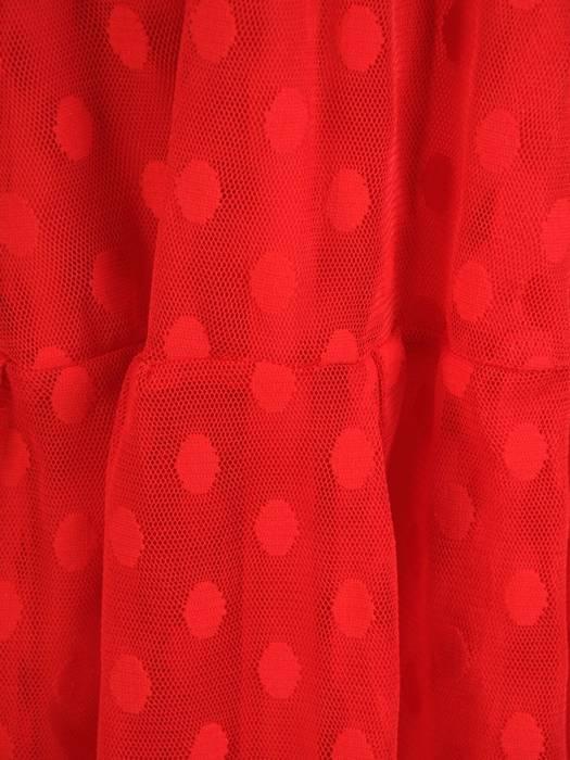 Rozkloszowana sukienka z tiulu w modne grochy 30280