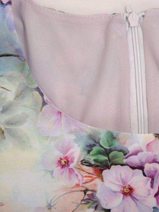 Rozkloszowana sukienka z tkaniny, kreacja z paskiem w drobne kwiaty 24559