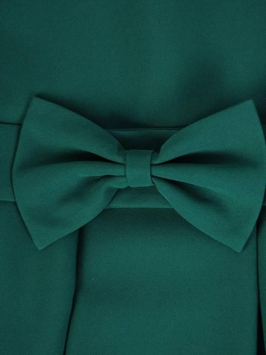 Rozkloszowana, zielona sukienka z ozdobną kokardą 26952