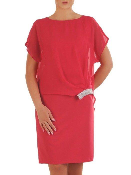 Różowa sukienka wyjściowa z ozdobnym marszczeniem 26358