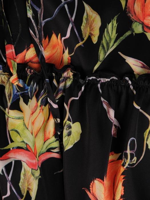 Satynowa sukienka z falbankami 20707, zwiewna kreacja w kwiaty
