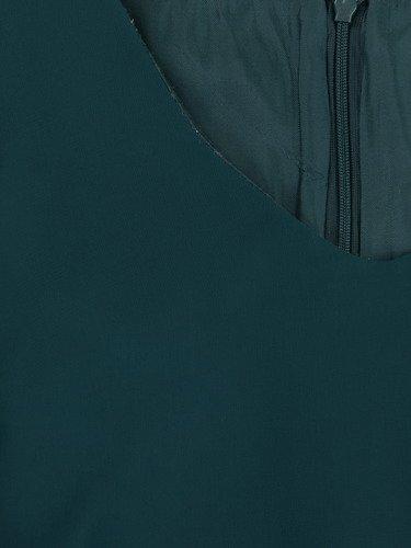 Sukienka damska 14854, zielona kreacja w luźnym fasonie maskującym brzuch i biodra.