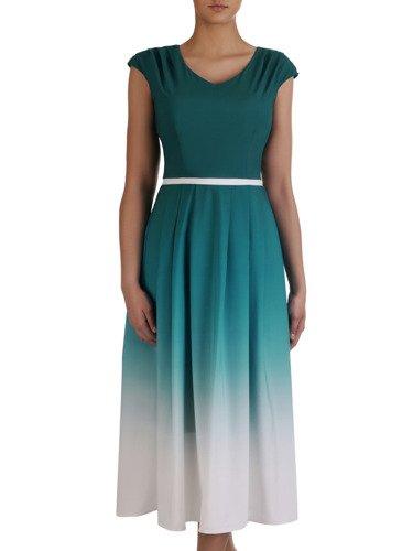 Sukienka damska 15314, zwiewna kreacja w wyszczuplającym wzorze.