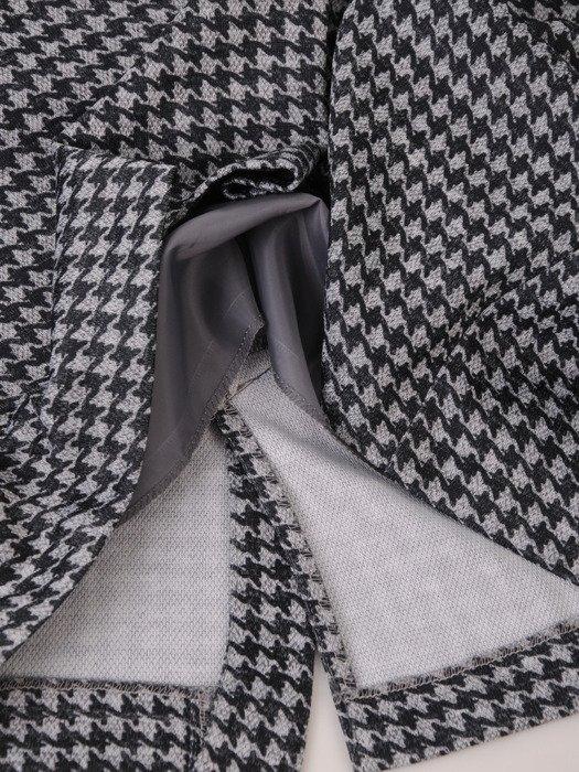 Sukienka damska 18039, wyjściowa kreacja z łączonych tkanin.