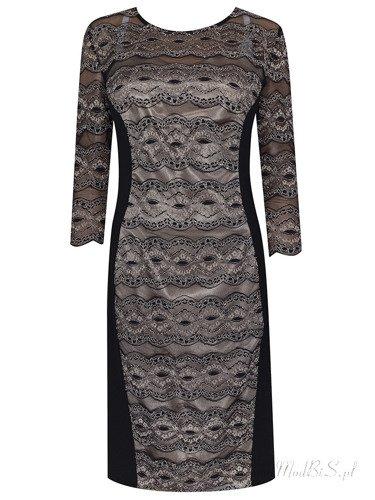 Sukienka damska Gracja III, wyszczuplająca kreacja z dzianiny i koronki.