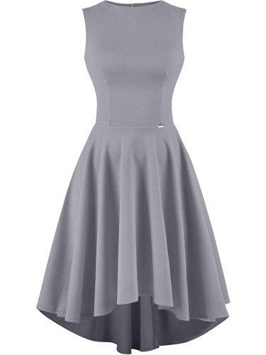 Sukienka damska Inezja XVIII, rozkloszowana kreacja z dłuższym tyłem.