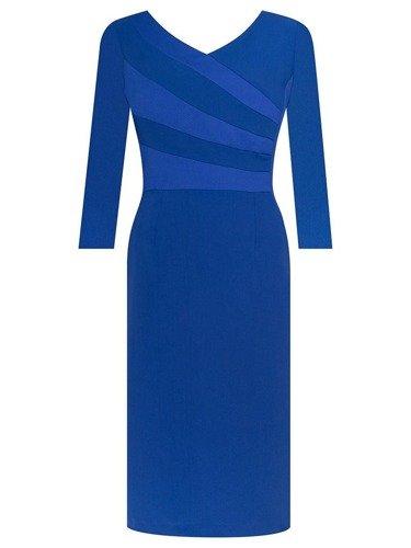Sukienka damska Jowita IV, wizytowa kreacja w chabrowym kolorze.