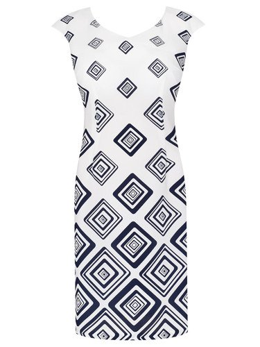 Sukienka damska Kleopatra, letnia kreacja w geometrycznym wzorze.