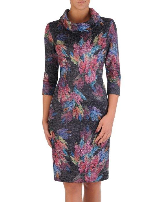 Sukienka damska Krystyna XXII, wyszczuplająca kreacja z kominem.