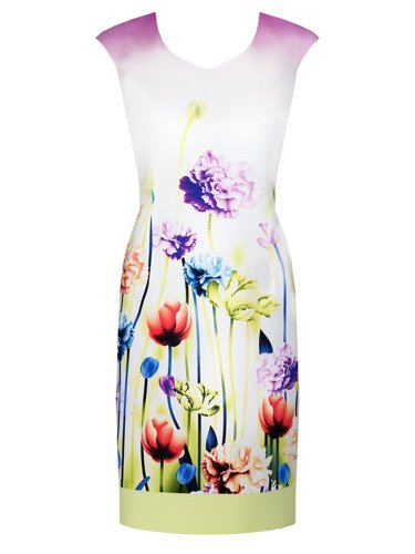 Sukienka damska Laura, wyszczuplająca kreacja w kwiaty.