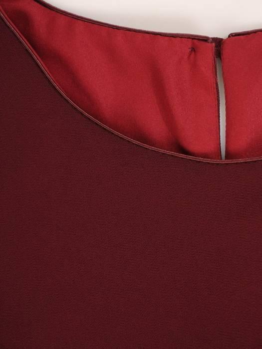 Sukienka damska, bordowa kreacja z oryginalnymi rękawami 27525